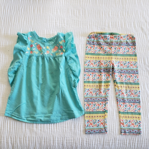 healthtex Other - 2Pc Set Squa Blue Flower  Dress Top Leggings 4T